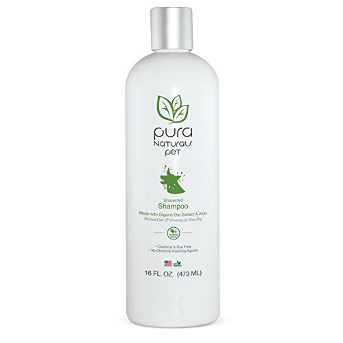 Pura Naturals Pet Organic Nourishing Unscented Oatmeal and Aloe Shampoo 16oz Made with Organic Oils-Chemical Free and Sa