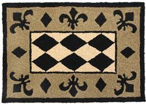 Jellybean Fleur De Lis Indoor Outdoor Accent Rug