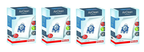 Miele AirClean 3D Efficiency Dust Bag, Type GN, (4 Boxes = 16 Bags & 8 Filters)