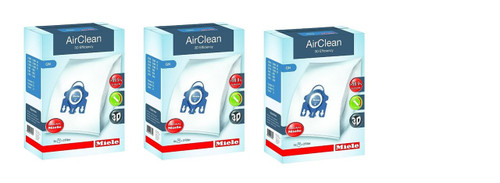 Miele AirClean 3D Efficiency Dust Bag, Type GN, (3 Boxes = 12 Bags & 6 Filters)