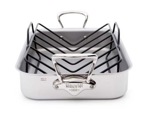 Mauviel M'Cook 5 Ply Stainless Steel 5217.15 15.7 by 11.8-Inch Rectangular Roasting Pan and Rack with Cast Stainless Ste