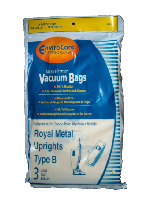3 Royal Upright Type B Vacuum Cleaner Allergy Bags, Top Full Vacuum Cleaners, RO-2-066247-001, Royal 3067247001, 3-06724