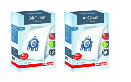 Miele AirClean 3D Efficiency Dust Bag, Type GN, (2 Boxes = 8 Bags & 4 Filters)