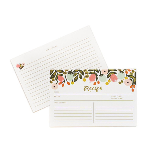 "Rifle Paper Hanging Garden 4"" x 6"" Recipe Cards -- Set of 12 Cards"
