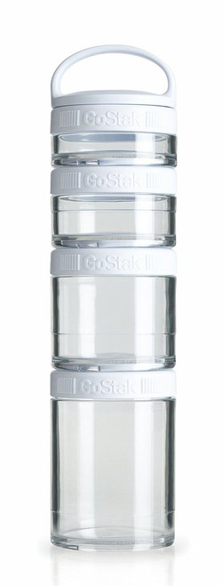Blender Bottle 4-Piece GoStak Twist n' Lock Storage Jars Starter Pack, White