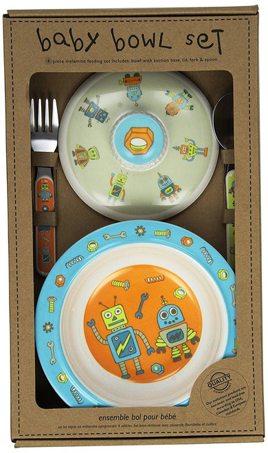Sugarbooger Covered Suction Bowl Gift Set, Retro Robot