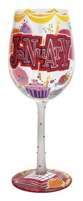 Lolita from Enesco Happy January Wine Glass, Multicolor