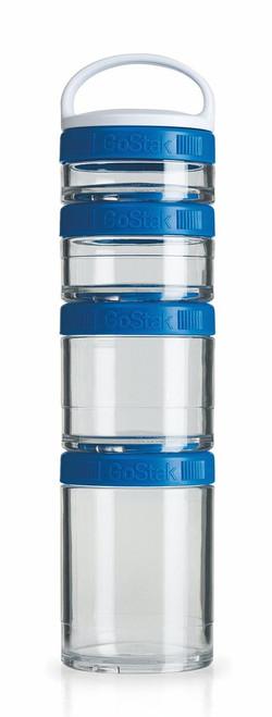 BlenderBottle GoStak Twist n' Lock Storage Jars, 4-Piece Starter Pak, Blue