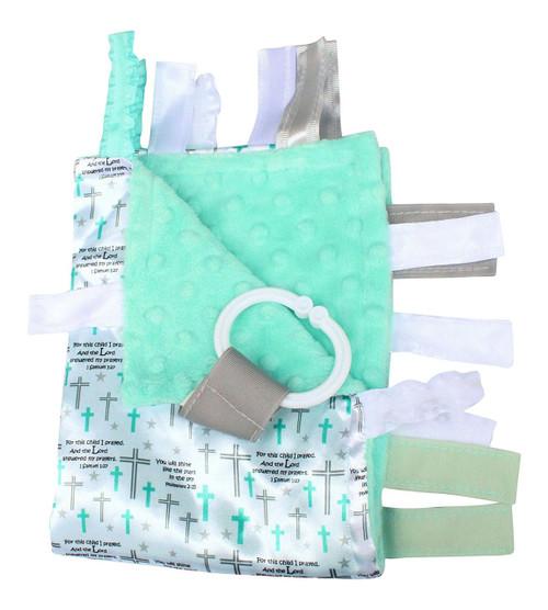 Sensory Baby Tag Blanket, Christian Prayer Baptism Dedication Blanket 14x18 Lovey