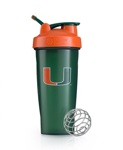 BlenderBottle Classic NCAA Collegiate Shaker Bottle, University of Miami - Green/Orange, 28-Ounce