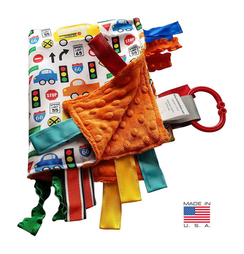 Sensory Baby Tag Blanket, Traffic, Signs, Automobiles Blanket 14x18 Lovey