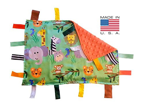 Baby Jack Sensory Tag Blanket Jungle Safari Lovey with Ribbon Tabs Made in USA