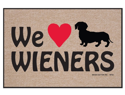 "We ""Heart"" Wieners Doormat"