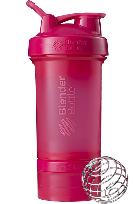 BlenderBottle ProStak System with 22-Ounce Bottle and Twist n' Lock Storage, All Pink