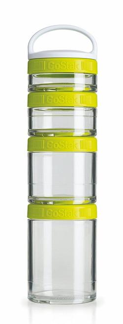 BlenderBottle GoStak Twist n' Lock Storage Jars, 4-Piece Starter Pak, Green