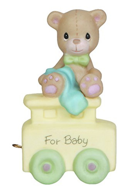"""Precious Moments, Birthday Gifts, """"May Your Birthday Be Warm"""", Birthday Train Baby, Bisque Porcelain Figurine, #142020"""