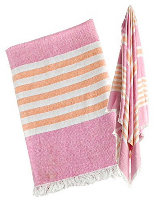 Lulujo Baby Turkish Towel, Pink/Apricot