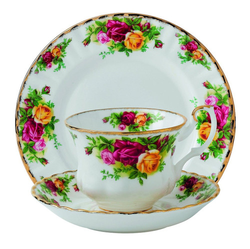 Royal Albert Old Country Roses 3 Piece Set (Teacup, Saucer & Plate), Multicolor