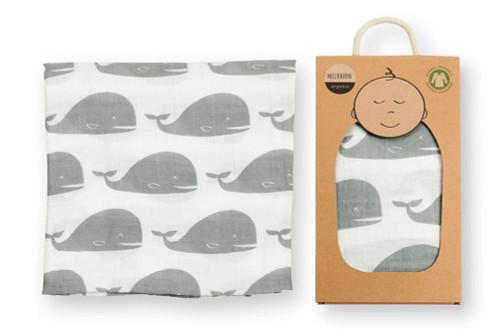MilkBarn Organic Muslin Swaddle Blanket (Grey Whale)
