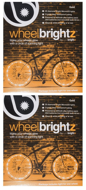 Brightz, Ltd. Gold Wheel Brightz LED Bicycle Light (2-Pack Bundle for 2 Tires)
