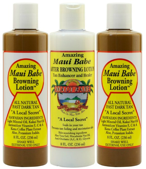 Maui Babe Tanning Pack 2 Browning Lotions 8 Oz 1 After