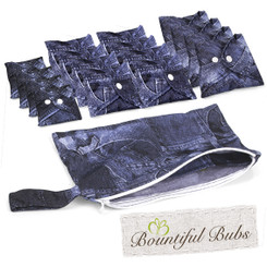 Reusable Pad Deluxe Pack, Menstrual, Incontinence Pads, Denim, Bountiful Bubs