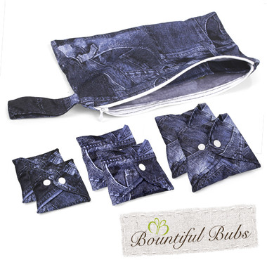 Bountiful Pads, Essentials Pack, Denim Reusable Cloth Pad