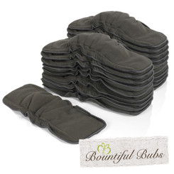 Newborn Charcoal Bamboo Boosters With Elastic - 6 layers x 20, Bountiful Bubs