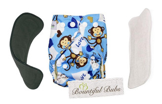 Newborn Deluxe Bamboo Nappy Combo Monkey Love