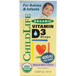 Childlife Organic Vitamin D3 Drops For Babies and Infants Natural Berry Flavor (1x0.338 Oz)