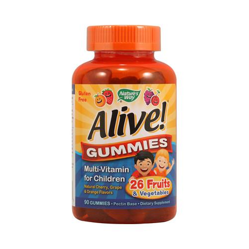 Nature's Way Alive! Gummies Multi-Vitamin for Children Natural Cherry, Grape and Orange (90 Gummies)