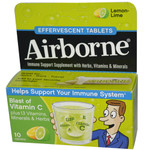 Airborne Effervescent Tablets with Vitamin C Lemon Lime (1x10 Tablets)