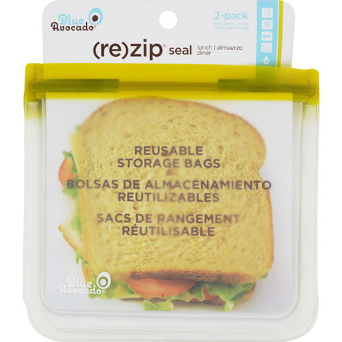 Blue Avocado Lunch Bag Re Zip Seal Green 2 Pack