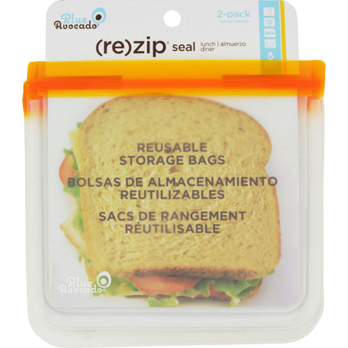 Blue Avocado Lunch Bag Re Zip Seal Orange 2 Pack