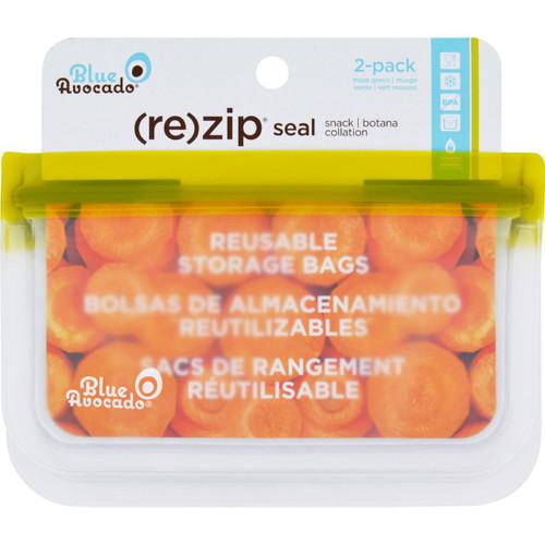 Blue Avocado Bag Re Zip Snack Green 2 Count