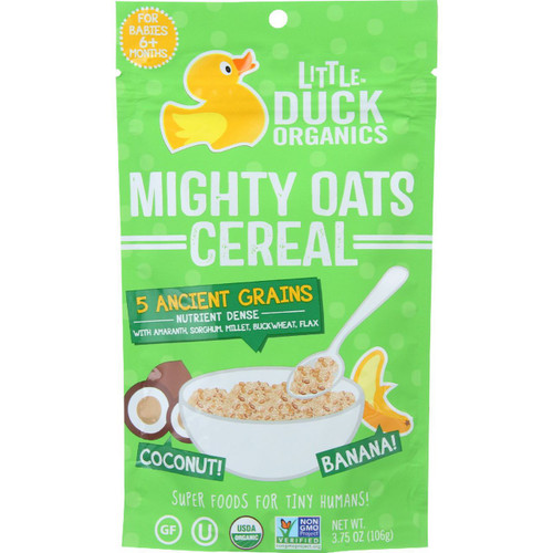 Little Duck Organics Cereal Organic Mighty Oats Coconut and Banana Age 6 Months Plus 3.75 oz case of 6