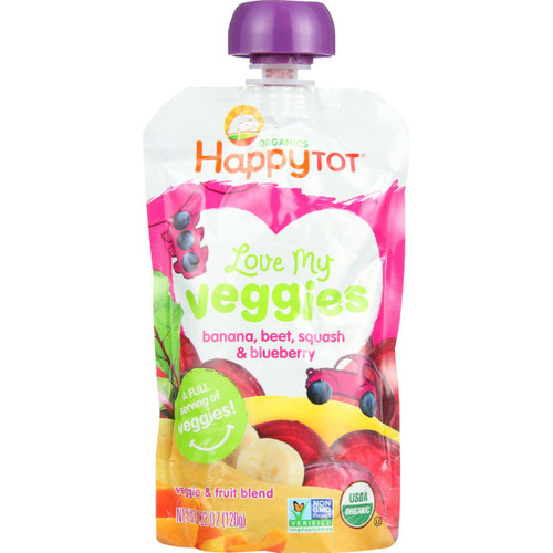 Happy Tot Toodler Food Organic Love My Veggies Banana Beet Squash and Blueberry 4.22 oz case of 16