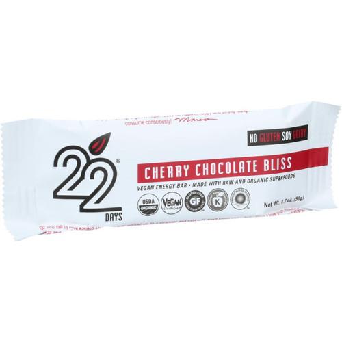 22 Days Nutrition Organic Energy Bar Cherry Chocolate Bliss Case of 12 1.7 oz Bars