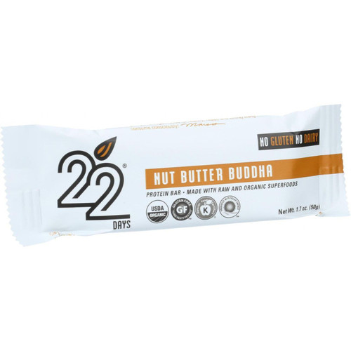 22 Days Nutrition Organic Protein Bar Nut Butter buddha Case of 12 1.7 oz Bars