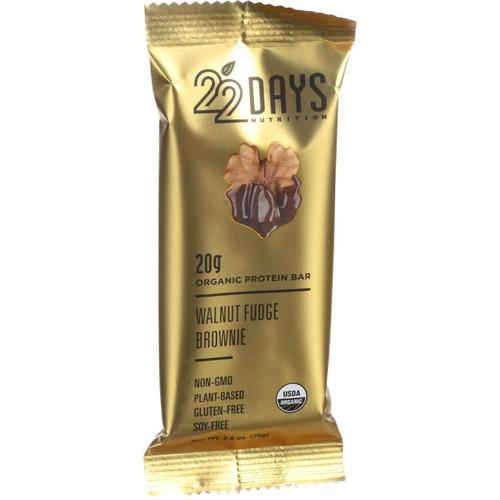 22 Days Nutrition Organic Protein Bar Walnut Fudge Brownie Case of 12 2.6 oz Bars