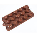 "Fat Daddio's Silicone Chocolate Mold, 9.13"" x 4.18"", Dimpled Heart, 1.26"" x 1"" x .91"", 15 pcs per mold"