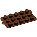 "Fat Daddio's Silicone Chocolate Mold, 9.13"" x 4.18"", 3 corner Pastry/Hammantash, 1"" x 1"" x .75"" high, 15 pcs per mold"