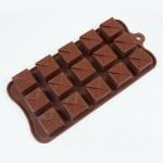 """Fat Daddio's Silicone Chocolate Mold, 9.13"""" x 4.18"""", Tiered Square, 1.1"""" square x .6"""" high, 15 pcs per mold"""