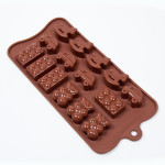 "Fat Daddio's Silicone Chocolate Mold, 9.13"" x 4.18"", Childs Play, 1.25"" x .58"", 4 designs, 15 pcs per mold"