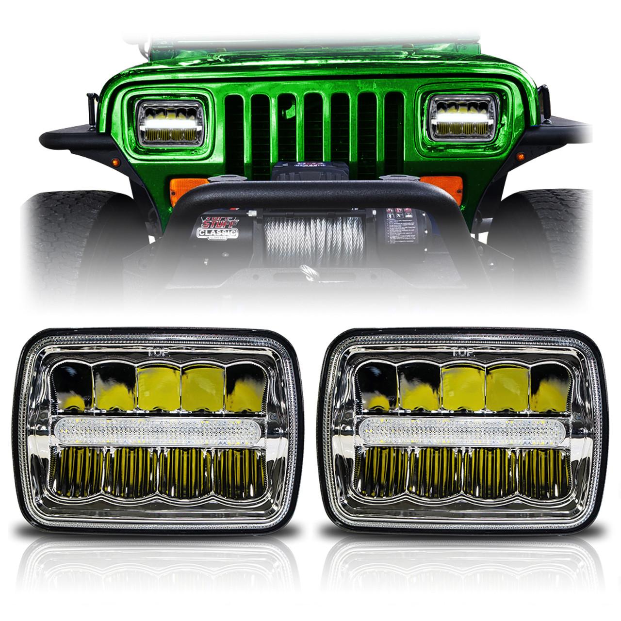 xdr led chrome headlights w/drl for xj and yj - jeepfederation 2001 jeep xj fuse diagram jeep xj halo headlights wiring