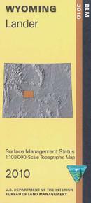 BLM 30' x 60' Surface Management Map of Lander, WY Quadrangle