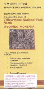 BLM 30' x 60' Surface Management Map of Yellowstone Park N, WY Quadrangle