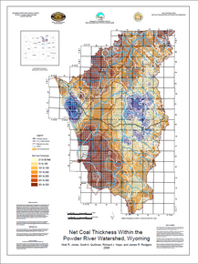 Net Coal Thickness Within the Powder River Watershed, Wyoming (2006)