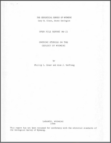 Ongoing Studies on the Geology of Wyoming (1986)