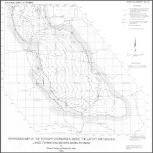 Isopachous Map of the Tertiary Overburden Above the Latest Cretaceous Lance Formation, Bighorn Basin, Wyoming (1986)